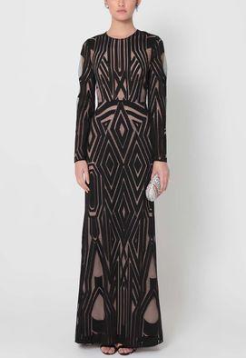 vestido-carey-longo-de-manga-comprida-com-brocado-geometrico-bcbg-maxazria-preto