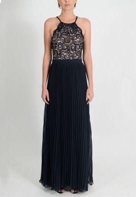 vestido-georgete-longo-plissado-powerlook-azul