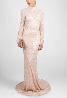 vestido-rose-longo-de-manga-comprida-com-cauda-powerlook-rosa