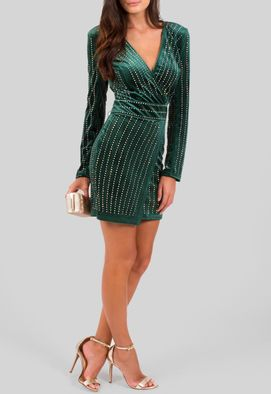 vestido-secret-curto-de-manga-comprida-de-veludo-powerlook-verde-musgo