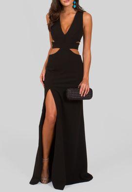 vestido-granada-longo-com-recortes-na-cintura-e-fenda-powerlook-preto