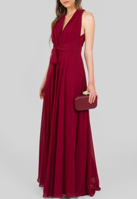 Vestido-Tarragona-longo-fluido-amarracao-cintura-Powerlook---vinho