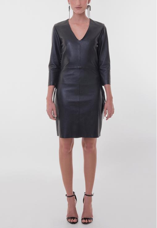 vestido-barbara-curto-de-couro-com-franjas-allek-preto