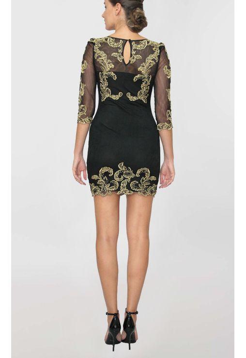 vestido-agatha-curto-de-manga-comprida-em-renda-e-tule-karen-millen-preto