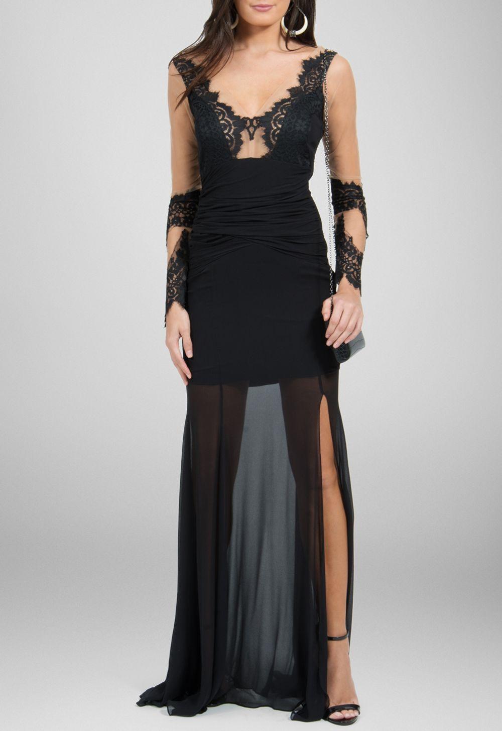 49fd95ad0 Vestido longo de seda com transparência preto Agilitá - powerlook