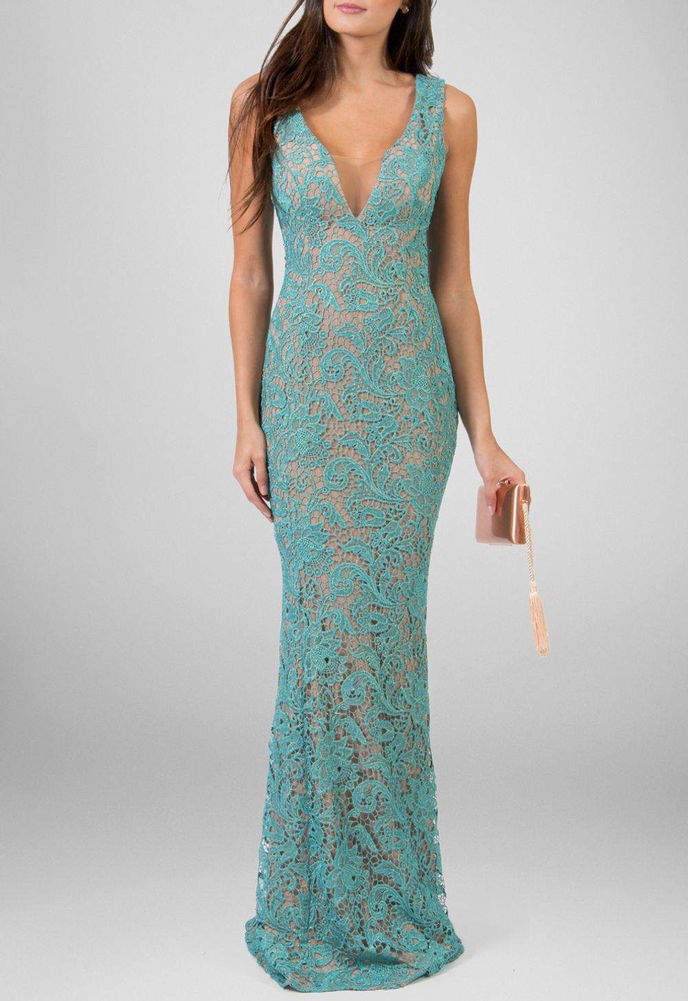 c398e759d Vestido longo de renda guipir azul com dourado Powerlook - powerlook