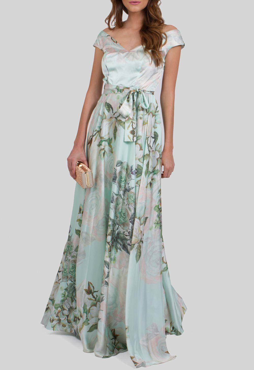10a670f7bc vestido-kiki-longo-de-cetim-floral-decote-canoa ...