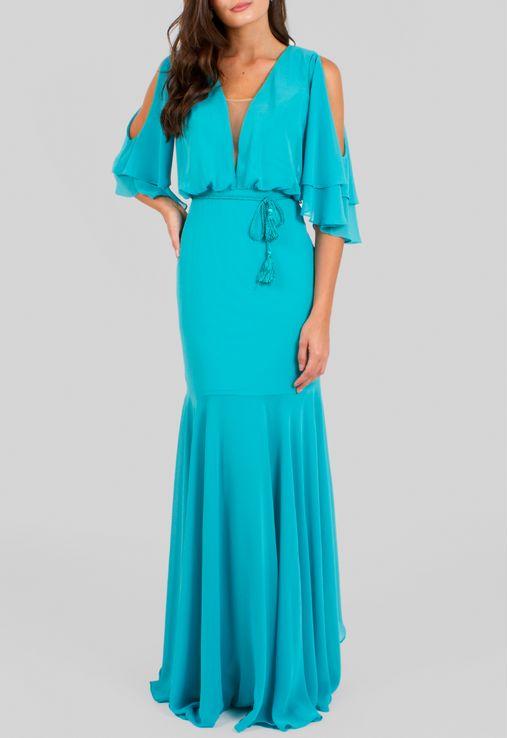 Vestidos de madrinha azul tiffany com manga