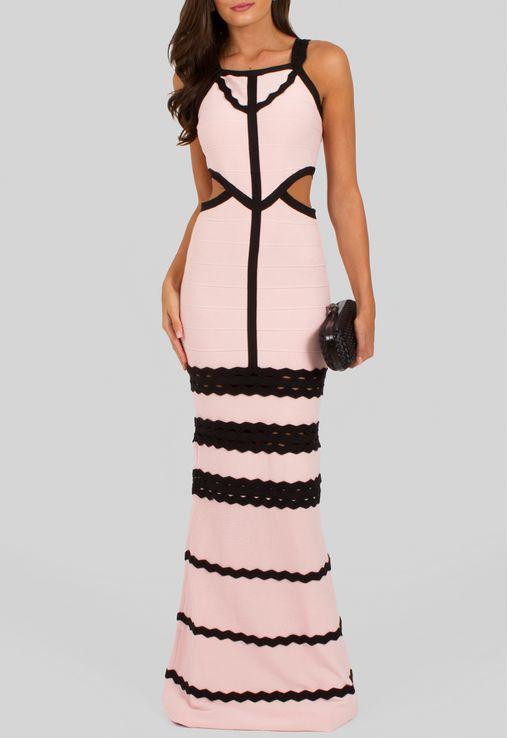 Vestido longo bandagem rosa