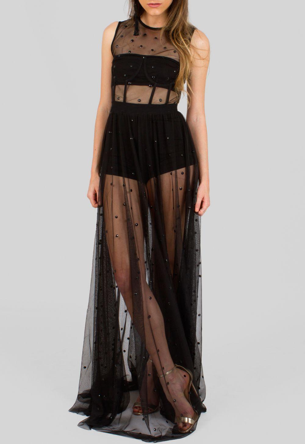 f0127201cb Vestido longo preto de tule com aplicação pedras Powerlook - powerlook