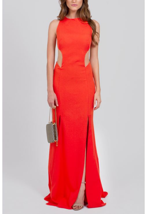 vestido-adriel-longo-de-decote-na-lateral-e-fendas-powerlook-laranja