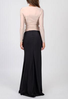 vestido-bicolor-longo-maddie-preto-e-bege