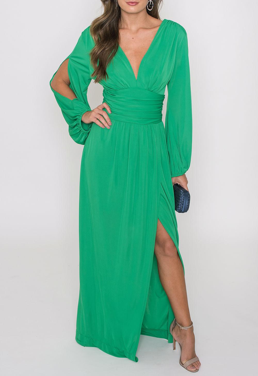 Vestido longo verde amissima