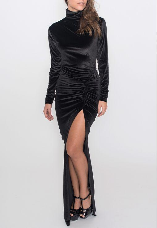 vestido-vaduz-longo-gola-alta-de-veludo-powerlook-preto