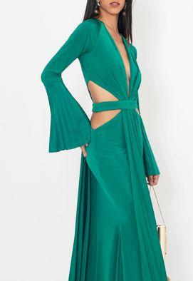 Vestido-Sabrina-longo-Unity-Seven-verde