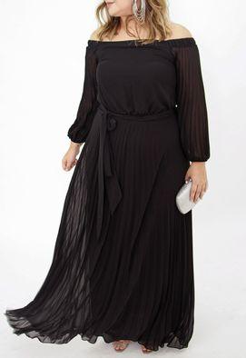 Vestido-Tavares-longo-Powerlook-preto